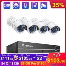 Techage 4CH 1080P Poe Nvr Camera Systeem 2MP Audio Record Poe Ip Camera Cctv Video Waterdichte Outdoor Security Surveillance kit