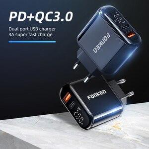 Image 5 - FONKEN شحن سريع 3.0 PD شاحن 2 ميناء شحن سريع لشحن الهاتف USB نوع C ميناء محول حائط LED عرض داش شاحن