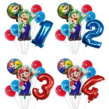 7pcs Super Mario Balloons 30inch numero 1 2 3 Balloon Boy decorazione per feste di compleanno cartoon game tema forniture per feste giocattoli per bambini