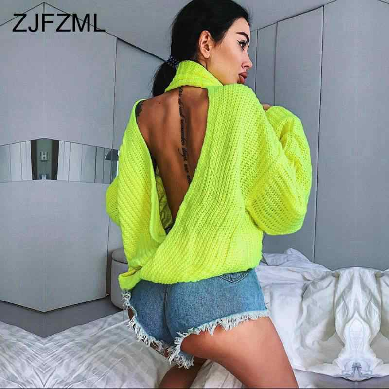 Neon Green Knitted Sweaters Women Autumn 2019 Backless Criss Cross Solid Causal Pullovers Turtleneck Hollow Out Loose Sweaters