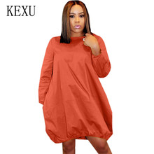 KEXU Plus Size S-3XL Women Solid Long Sleeve O Neck Pocket Loose Dresses Femme Casual Autumn Vintage Short Dress Ropa Mujer