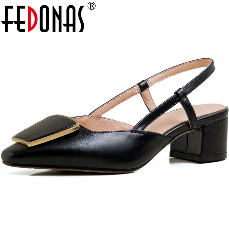 FEDONAS Genuine Leather Women Shoes Concise Thick Heels Pumps Spring Summer Basic Metal Decoration Elegant Wedding Shoes Woman