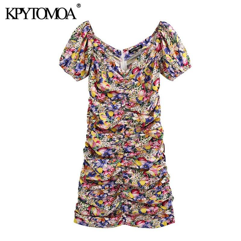 KPYTOMOA Women 2020 Chic Fashion Floral Print Draped Mini Dress Vintage V Neck Short Sleeve Back Zipper Female Dresses Vestidos