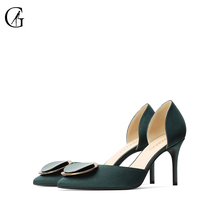 Купить с кэшбэком GOXEOU/2019 Autumn New women Pumps Green Pointed Toe Silk Shoes Metal Decoration High Heel Shoes
