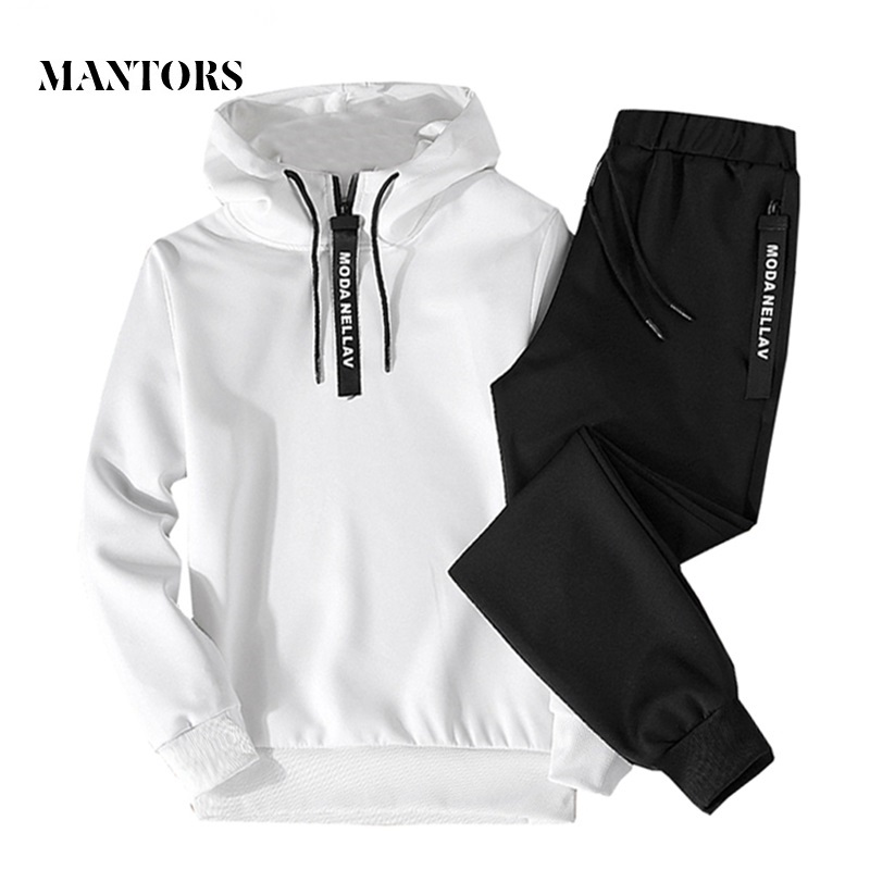 Men Set 2019 Autumn Casual Hooded Sweatshirts Male Sporting Suits Men's Sportswear Tracksuits Hoodies+Pants 2PCS Sets Moletom