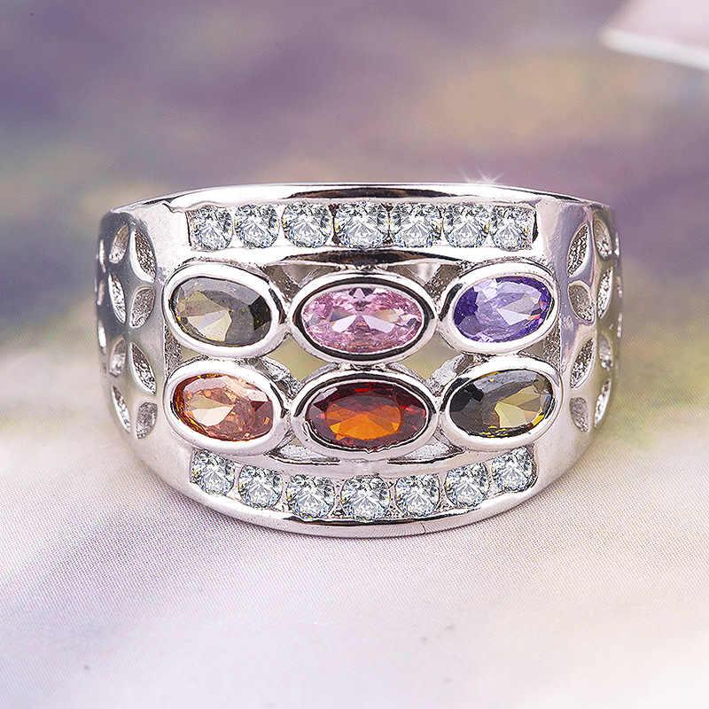 6 kolor Rainbow eliptyczny austriacki kryształowy pierścionek Bohemia 925 srebrny pierścionek CZ oliwkowy szmaragdowy cyrkon podróż biżuteria wykwintny pierścionek
