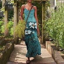 Casual Women Floral Print Sling Long Dress 2021 Summer Elegant Off Shoulder Beach Dresses Ladies Sexy Halter Maxi Dress Vestidos