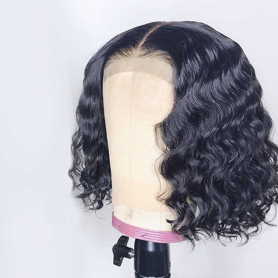 Korte Bob Pruik Lace Front Menselijk Haar Pruiken Met Baby Haar 13X4 Braziliaanse Golvend Remy Haar Bob Pruiken voor Vrouwen Perruque Cheveux Humain