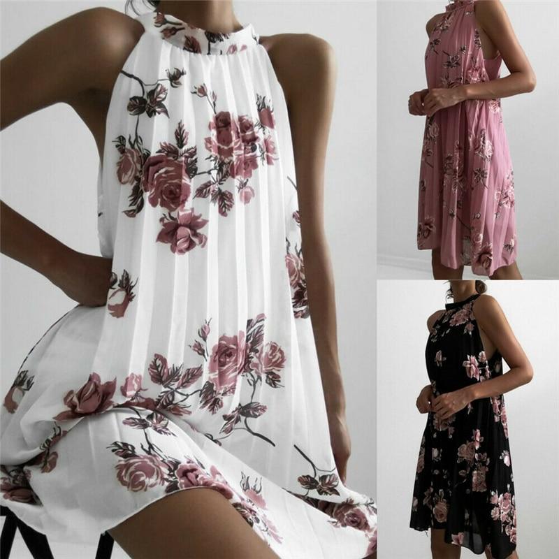 Halter Style Ladies Pleated Mini Dress Floral Printed Female Sleeveless Summer Boho Printed Beach Loose Mini Dress