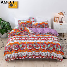 Bohemian Comforter Bedding Sets Luxury Mandala Quilt Duvet Cover Set Pillowcases Polyester Queen King Size Bedlinen Bedspread(China)
