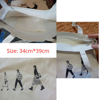 Ladies Handbags Canvas Tote Bag Cotton Cloth Shoulder Shopper Bags for Women 2020 Eco Foldable Reusable Shopping Bags Grocery 6