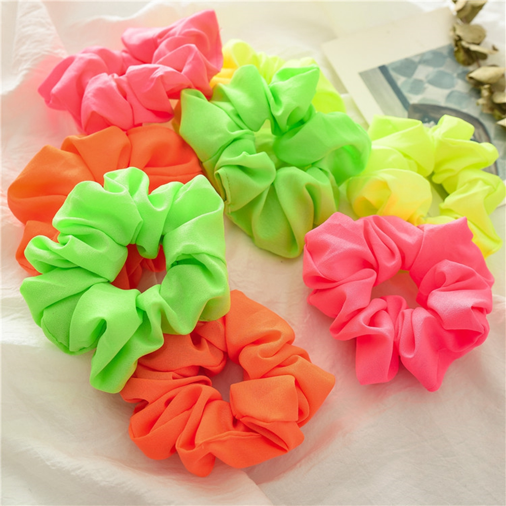 Lady Fluorescent Color Neon Hair Scrunchies Ponytail Holders Rubber Band Women Girls Headdress Elastic HeadBand Hair Accessories
