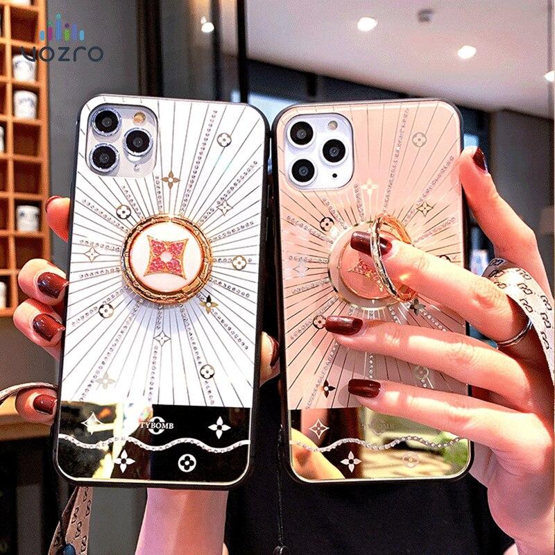 VOZRO Luxury Goddess Phone Shell Net For Iphone 6s 7 8 Plus X XR Xsmax XS 11 Pro Max Case Bracket Tide 11pro Lanyard Rhinestone