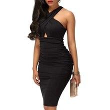 купить Black Dress Women Sexy Sleeveless Cross Dress Irregular Elegant Lady Club Party Dress Female Bodycon Dresses по цене 583.97 рублей