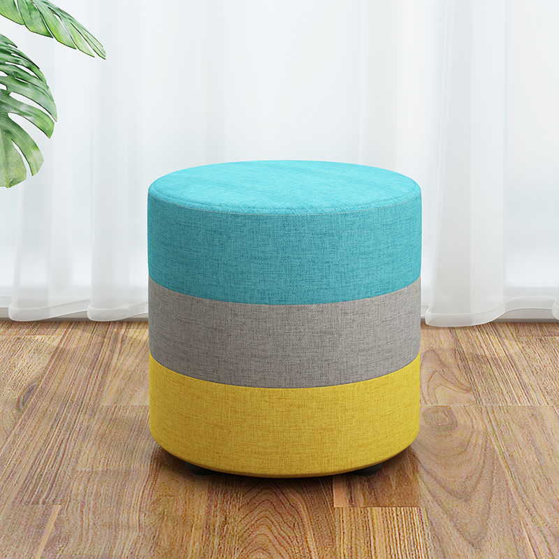 Fabrics Round Stool Wooden Home Adult Children Sofa Small Low Chair Ottomans Modern Fashion Change Shoes Bench