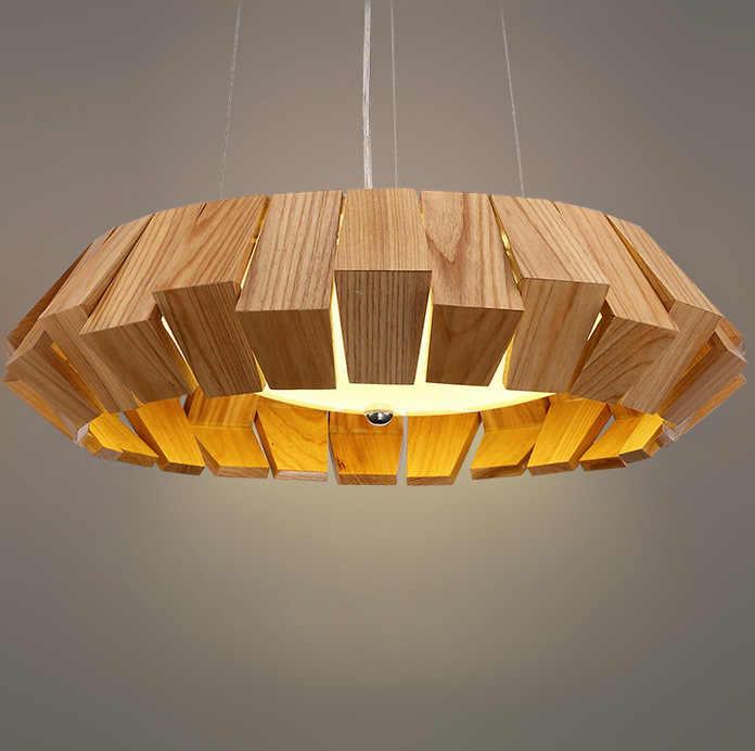 Lustre de madeira nordic sala estar quarto lâmpada led criativo moderno simples arte redonda lustre