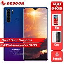 """Versão global blackview a80 pro 6.49 """"waterdrop quad câmera traseira 4gb 64gb celular 4680mah octa núcleo android 9.0 smartphone"""