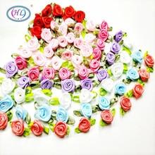 HL 50 шт. Мини Искусственные головки цветов сделать атласные ленты с розами ручной работы DIY ремесла для Свадебные украшения Аппликации