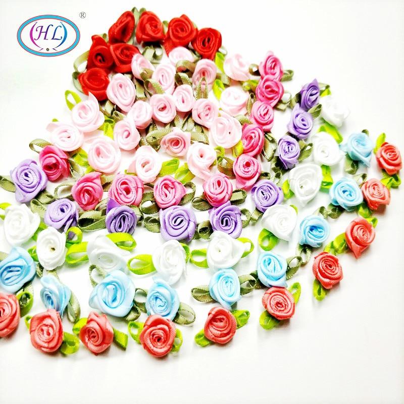 HL 50PCS Mini Artificial Flowers Heads Make Satin Ribbon Roses Handmade DIY Crafts For Wedding Decoration Appliques