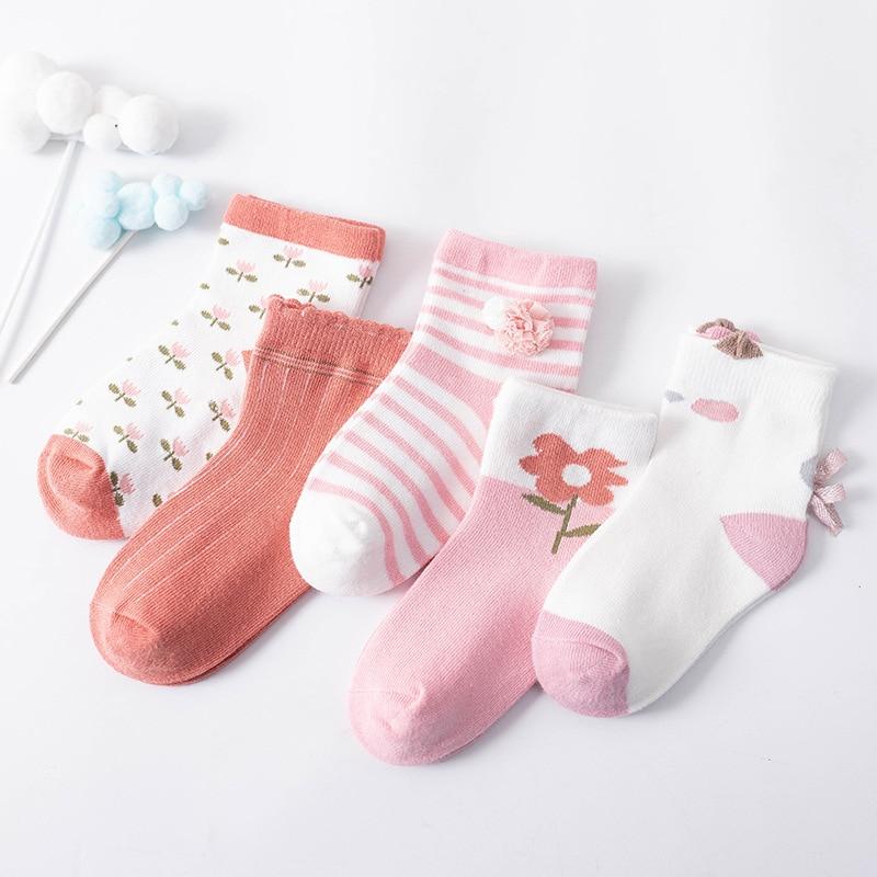 Детские хлопковые носки с цветами для девочек 3-12 лет, Детские осенне-весенние теплые короткие носки, разные цвета, 5 шт./лот