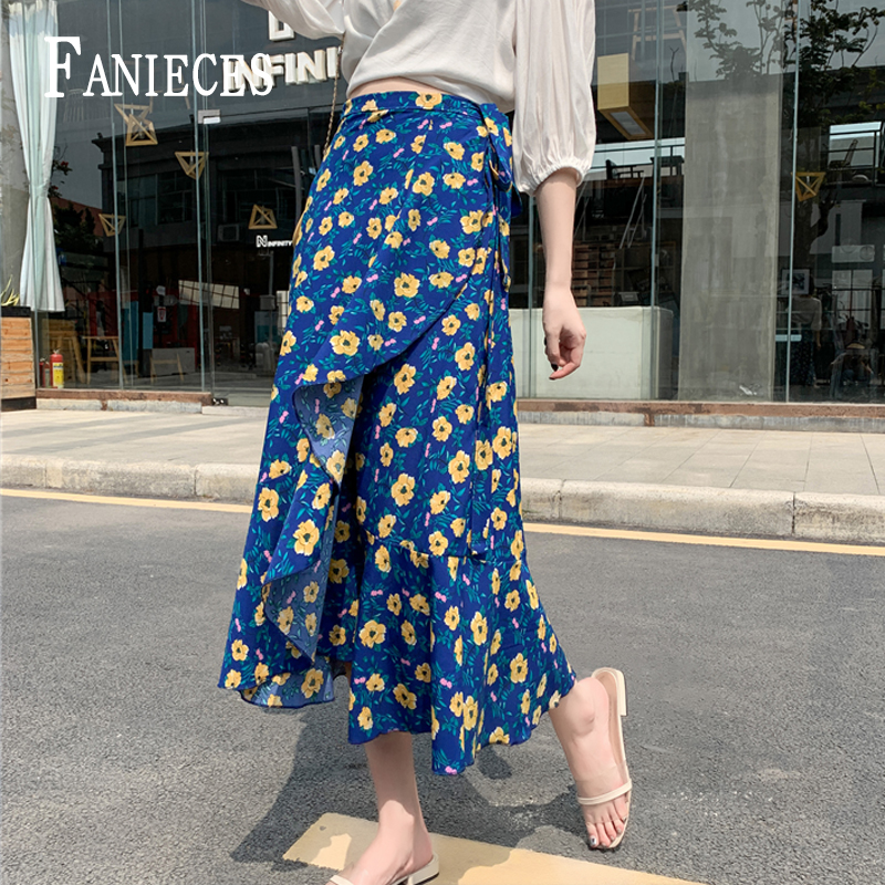 Ruffles Print Long Skirts Women Summer Beachwear Skirts Ins Fashion Waist Sexy Split Loose New Skirt Lined Dropshipping Falda