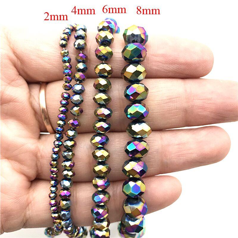 2X3/3X4/4X6/6X8 мм хрустальные бусины AB разноцветные стеклянные бусины Sapcer для ювелирных изделий ручное кольцо Ожерелье Изготовление DIY