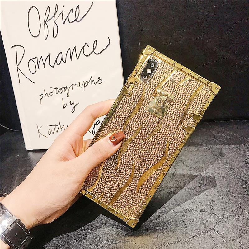 H9c2f32e446d54d1ca53785ab177c0578t - Hot 3D Luxury Square Gold glitter case for iphone X XR XS MAX 6 S 7 8 soft cover for Samsung S10 Plus S9 S8 coque