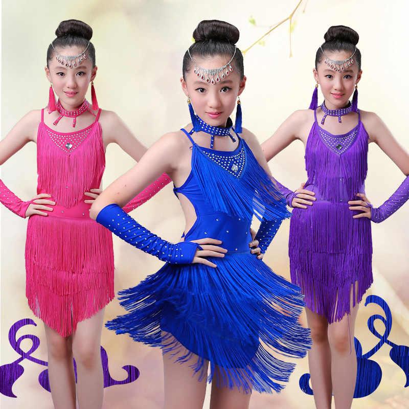 Kinder Salsa Kleider Pailletten Latin Dance Kleid Für Mädchen Fringe Tanzen Dancewear Bühne Samba Junior Ballroom Standart Kostüme