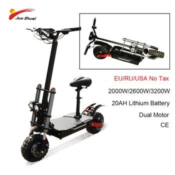 Patinete eléctrico de llanta ancha para adulto, Scooter plegable de 11 pulgadas con Motor Dual de 60V3200W