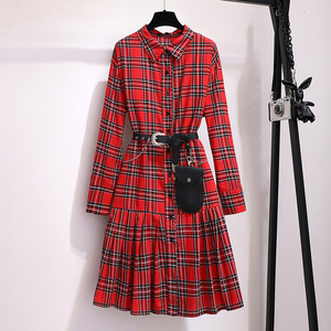 Image 4 - 2019 autumn winter plus size retro long dress for women large loose casual plaid girl pleated shirt dress red 4XL 5XL 6XL 7XL