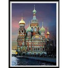 5D diamond painting church castle Saint Petersburg round diamond embroidery mosaic home decoration pattern DIY handmade gift