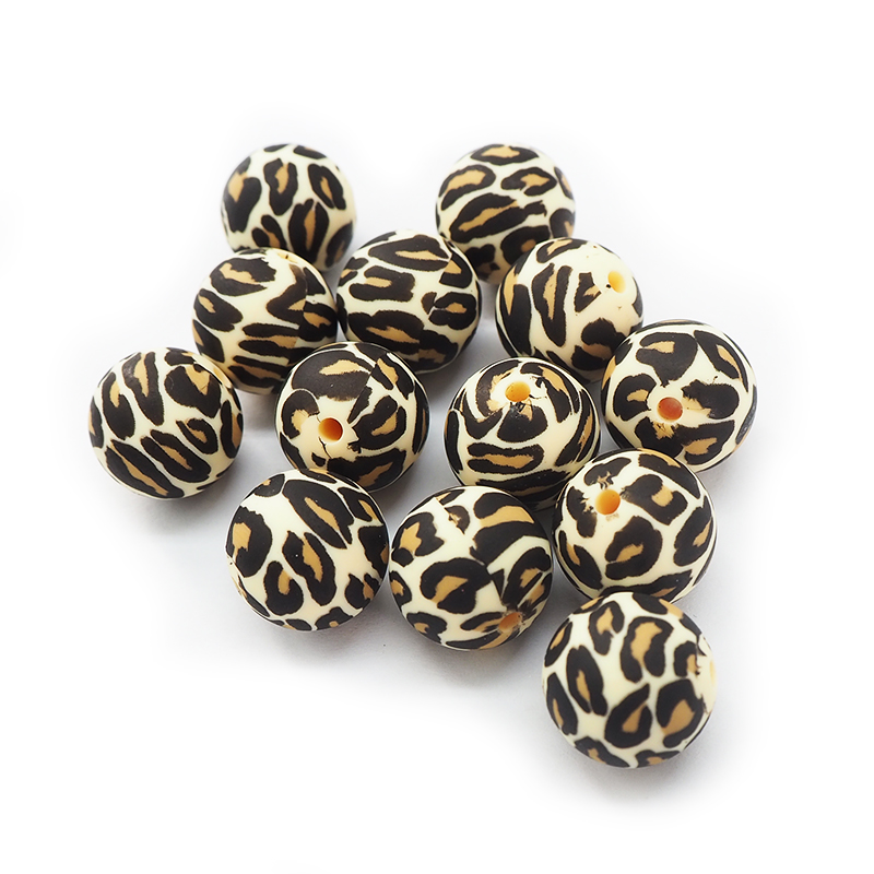 Chenkai 100PCS 15MM Silicone Leopard Print Beads Baby Round Shaped Beads Teething BPA Free DIY Sensory Chewing Toy Accessories