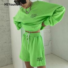 HEYounGIRL tuta oversize Casual con stampa lettere T-shirt e pantaloncini allentati Set completo Set da donna per la casa Streetwear