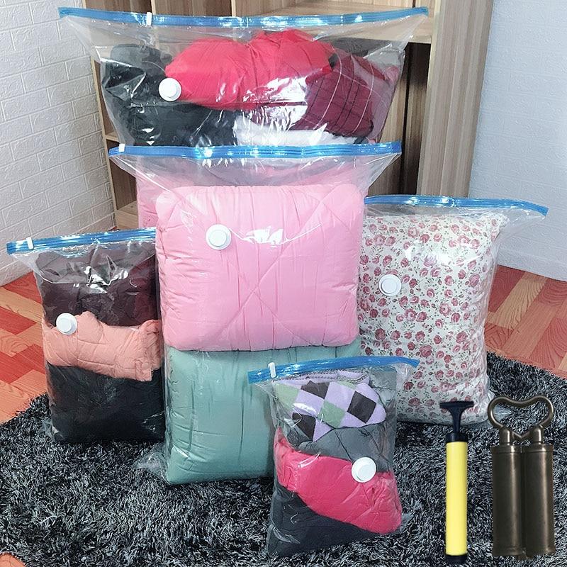 空気真空圧縮収納 Bag ホームオーガナイザー透明ボーダー折りたたみシール旅行省スペースパッケージ衣料用