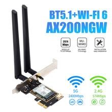 3000Mbps Wifi 6 Intel AX200 PCI-e Wireless Network Card Bluetooth 5.1 Adapter 802.11ax 2.4G/5GHz Dual Band Antennas MU-MIMO