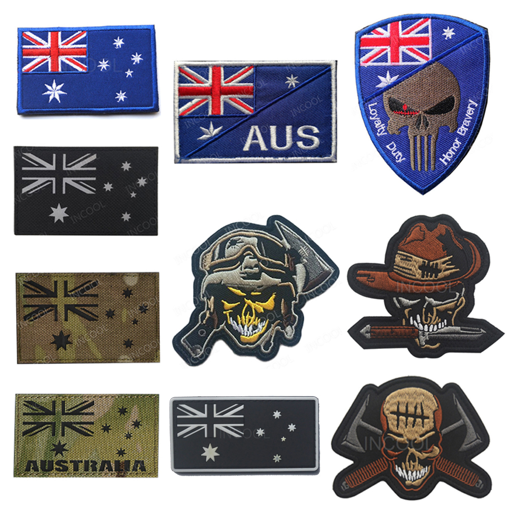 MILITARY BIKER PATCH AUSTRALIAN DIGGER FLAG  ........