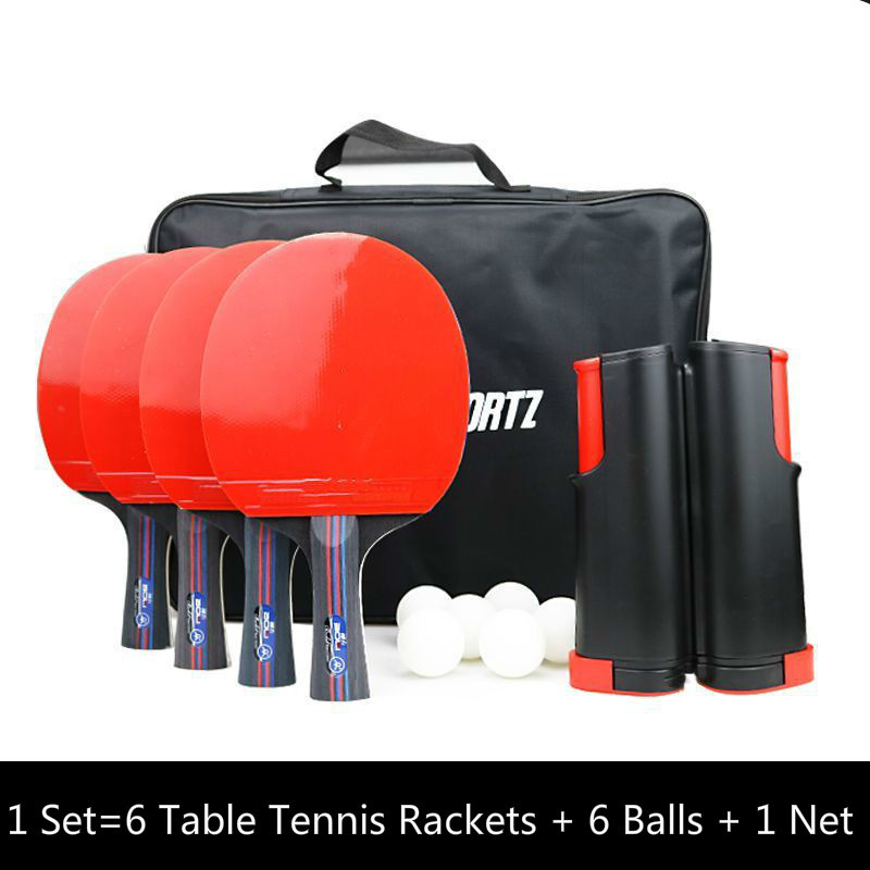 Table Tennis Racket Set Professional Rubber Carbon Pingpong Blade Bat Long Handle With 6 Table Tennis Rackets + 6 Balls + 1 Net