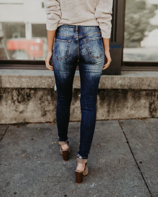 Women's Denim ripped jeans skinny 2