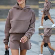 Cor sólida curto conjunto de duas peças conjunto de roupas femininas manga longa com capuz pullovers topo solto shorts 2 peça conjunto de treino feminino