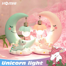 Moon baby unicorn night light decoration bedroom child free shipping for bedroom table lamp cute cloud bedside lamp for bedroom(China)