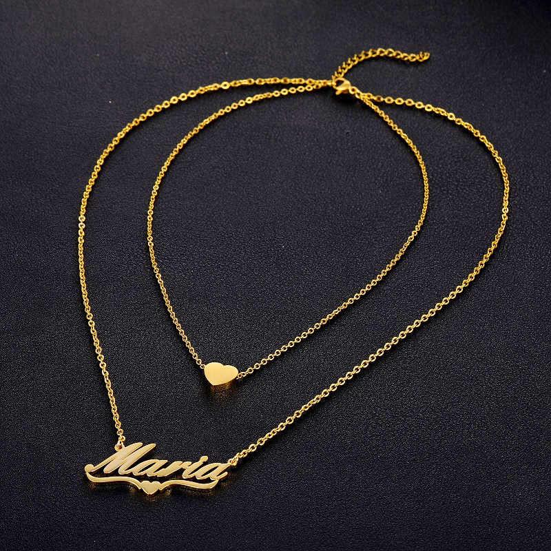 多層ネックレス名カスタムジュエリー女性パーソナライズ銘板ハートネックレスペンダントゴールドステンレス鋼チェーン