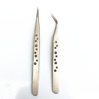 Stainless Steel Eyelash Tweezers Tool Superhard Anti-Static Eyelash Extension Tweezer Nail Rhinestone Decorations Picking Plier