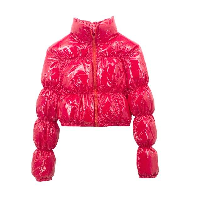 AtxyxtA Parka court pour femmes, veste bouffante, manteau à bulles court vêtements d'hiver à la mode, noir rouge violet rose vert bleu argent XXL 4