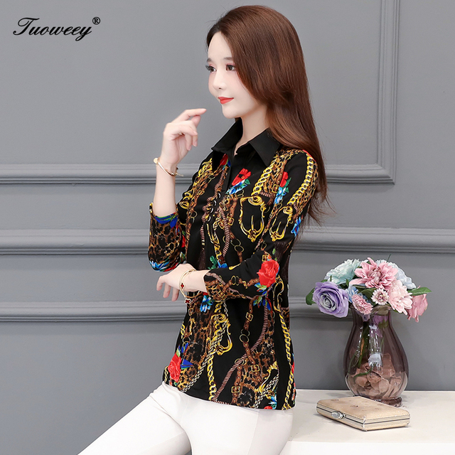 2020 Autumn spring Floral lace slim Blouse Women elegant Long Sleeve Blouses Casual Shirt ladies Plus Size 5XL printed Tops 5