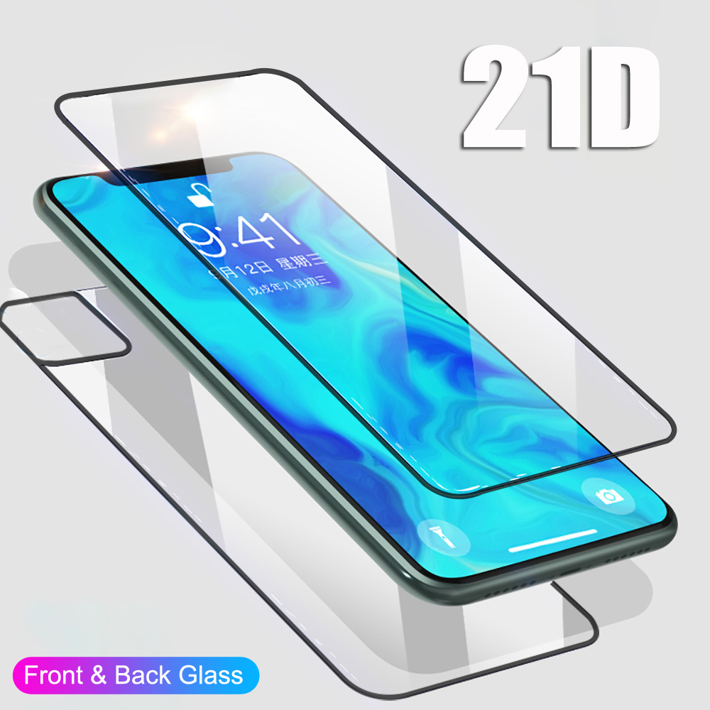 MAYROUND Film for iPhone 11 Pro Max 21D Full Cover Front+Back Rear 9H Temper Glass Full Body Screen Film Protector Guard Cover