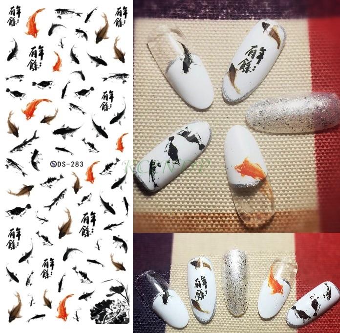Наклейки для ногтей украшения для ногтей слайдеры клейкий дизайн золотой рыбы Переводные переводные наклейки маникюрный лак аксессуары