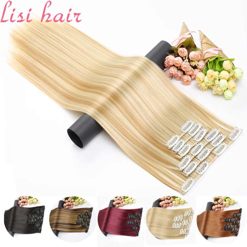 Lisi Haar Synthetische 16 Clips In Hair Extension Lange Rechte Haar Fake Valse Haarstukje Clip In Hair Extension