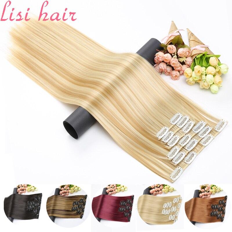 Синтетические волосы LISI на 16 заколках для наращивания волос, длинные прямые волосы, искусственные накладные волосы, зажим для наращивания в...