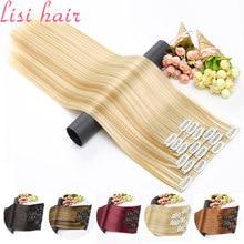 Lisi cabelo sintético 16 clipes na extensão do cabelo cabelo longo em linha reta falso grampo de cabelo na extensão do cabelo