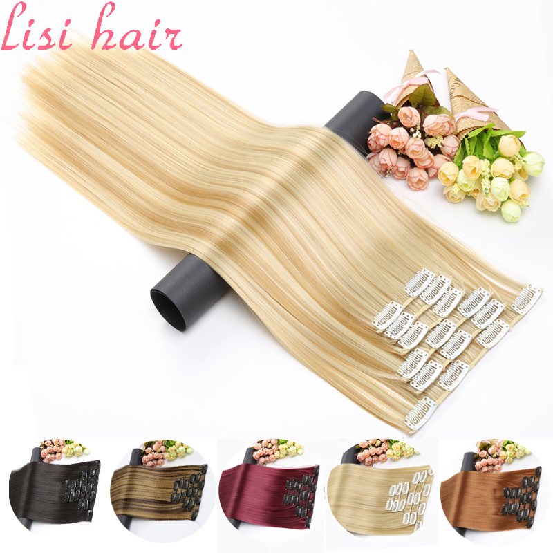 Hair-Extension Hairpiece Straight-Hair 16-Clips False Fake LISI Long Synthetic 24inch